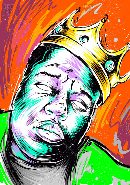 Illustration of American rapper The Notorious B.I.G