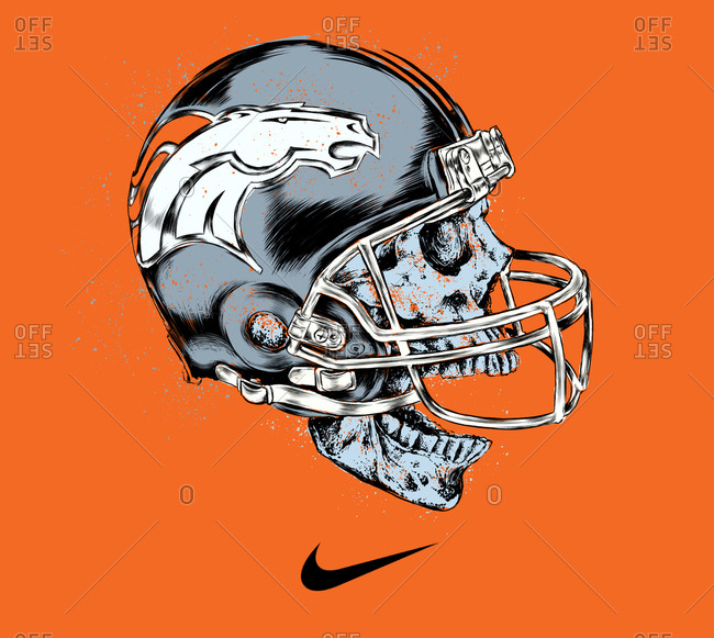 Illustration of a skull in a Denver Broncos helmet