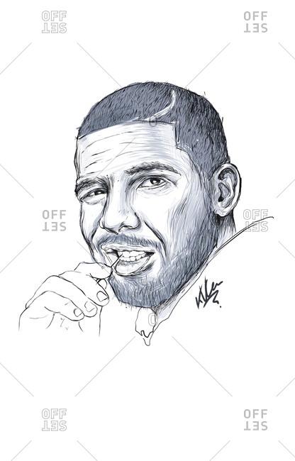Illustration of Canadian rapper Drake