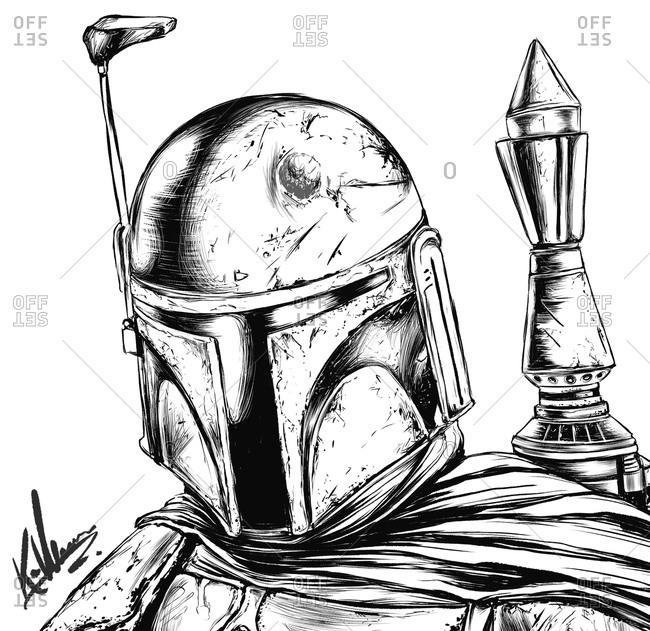 Illustration of Star Wars character, Boba Fett