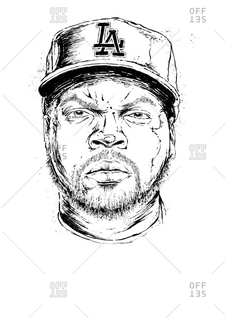 Illustration of American rapper Ice Cube