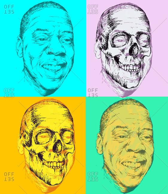 Rapper Jay Z in the style of Warhol