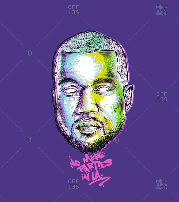 Illustration of American hip hop artists Kanye West