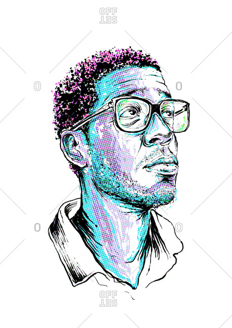 Illustration of American recording artist and actor Kid Cudi