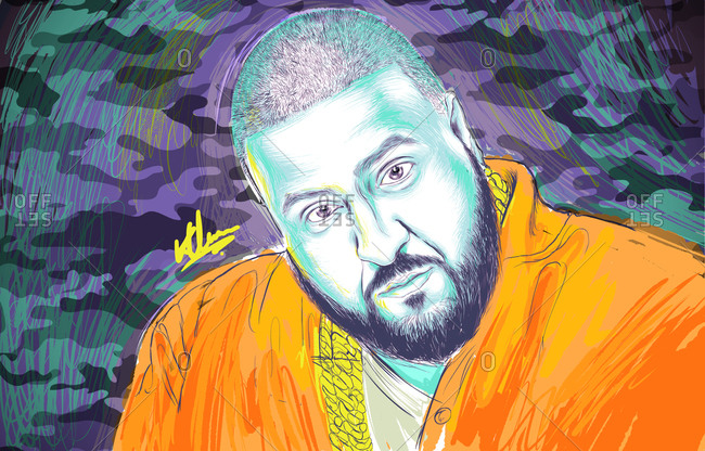 Illustration of American record producer DJ Khaled