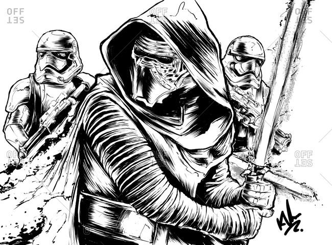 Illustration of Star Wars character, Kylo Ren