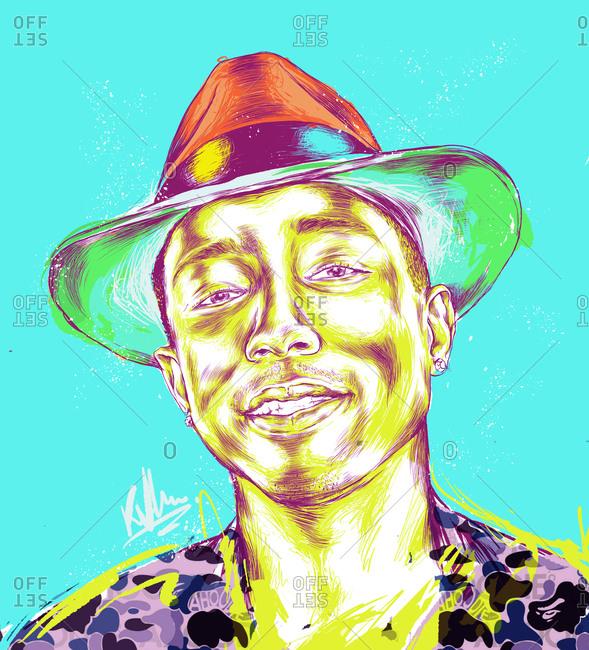 Illustration of American singer Pharrell Williams