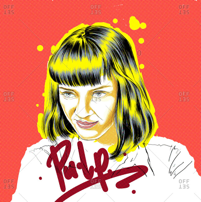 Illustration of Pulp Fiction character, Mia Wallace