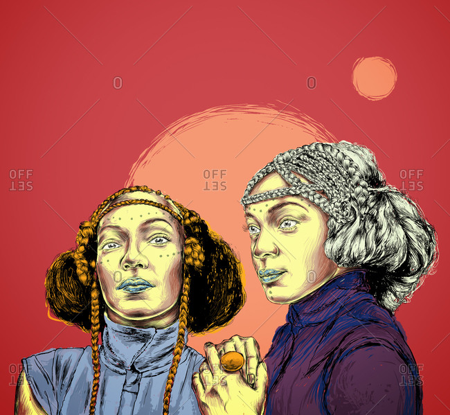 Illustration of French duo Les Nubians