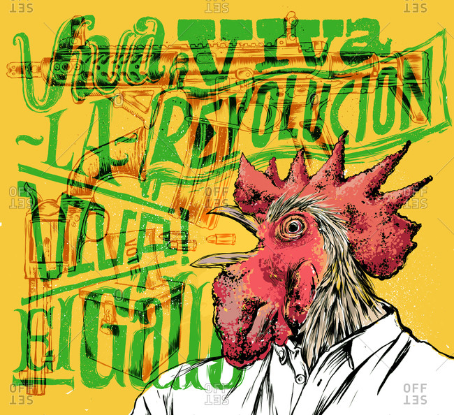 Illustration of a communist chicken poster