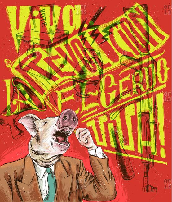Illustration of a communist pig poster