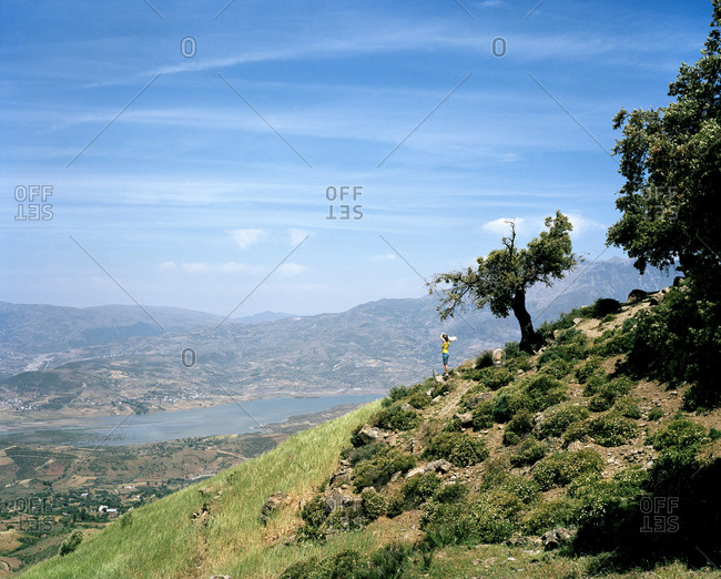 Woman standing on tree covered hillside in Morocco