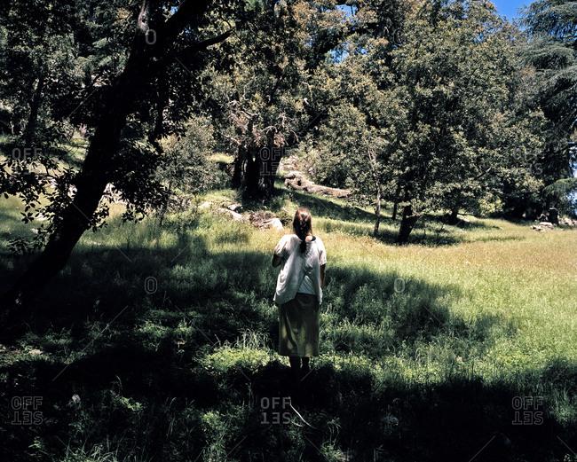 Woman standing under a tree in a meadow in Morocco
