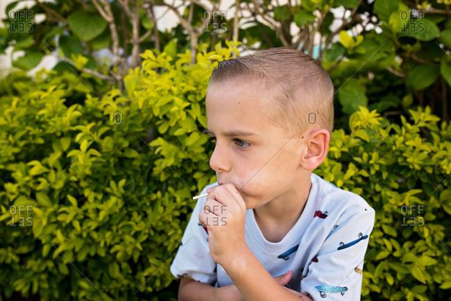 Young boy eating lollipop in garden