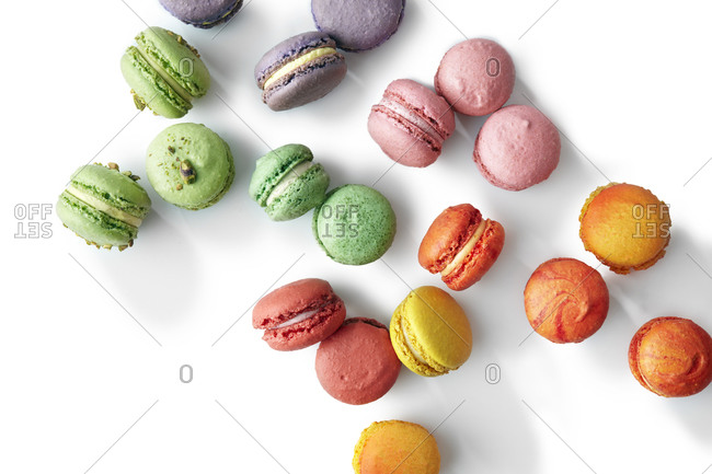 Colorful macarons on a white background