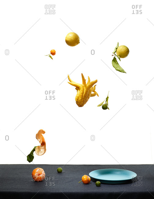Citrus suspended against a white background