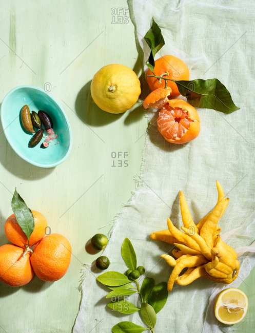 Overhead view of a citrus medley on a pastel colored table