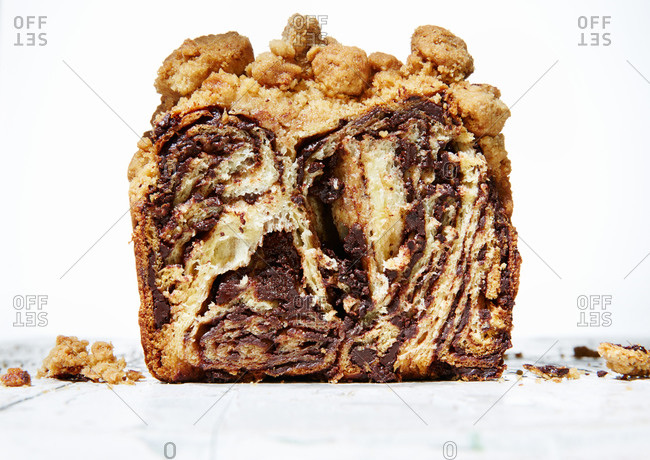 Close-up of a section of coffee crumb cake