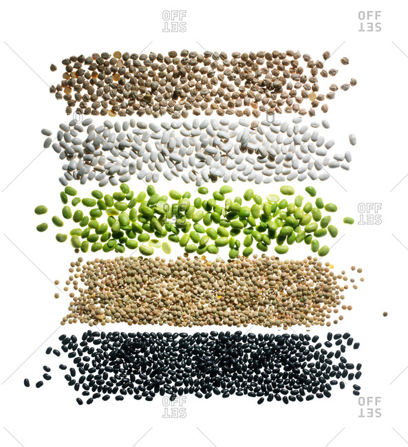 A variety of dried beans on a white background
