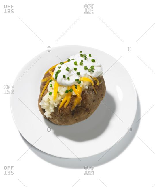 Baked potato on a white background