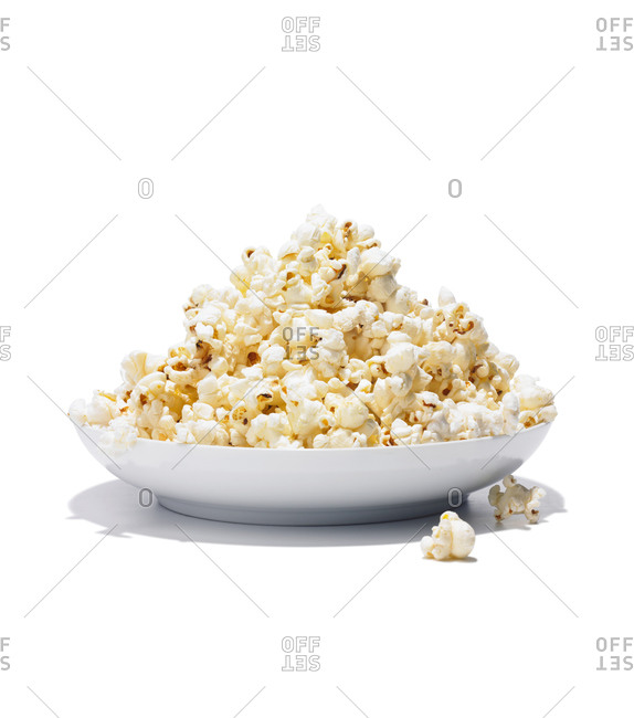 Bowl of popcorn on a white background