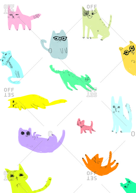 Colorful cats in a pattern on a white background