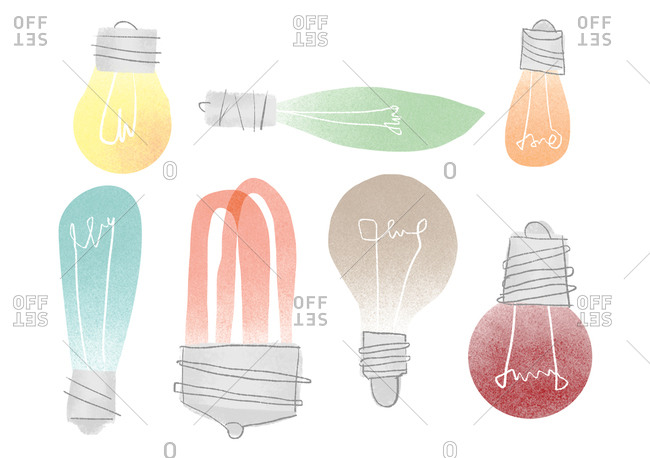 Colorful light bulb on a white background