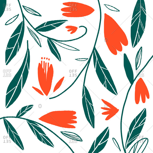 Pattern of leaves and flowers