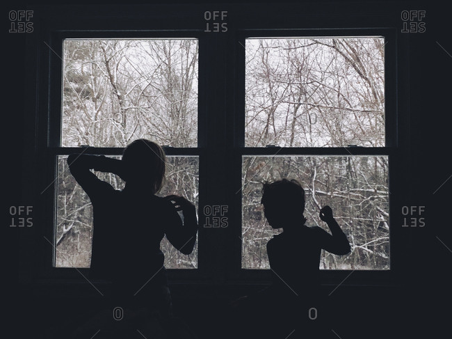 Silhouette of two children standing by a window looking out onto a winter landscape