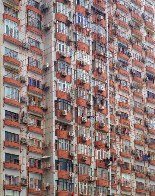 The facade of a condo building in Shanghai, China