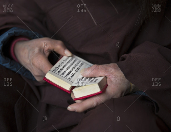 Man reading from a small red prayer book