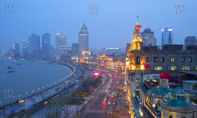 An aerial view at dusk of the Bund in Shanghai, China