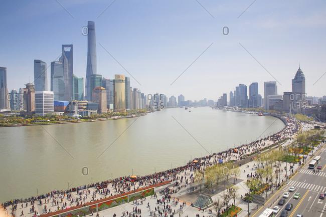 Shanghai, China - April 3, 2016: An aerial view of the Bund in Shanghai, China