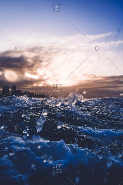 Sunset at sea in Queensland, Australia