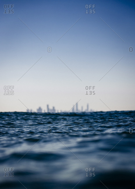 Cityscape in distance as seen from the sea