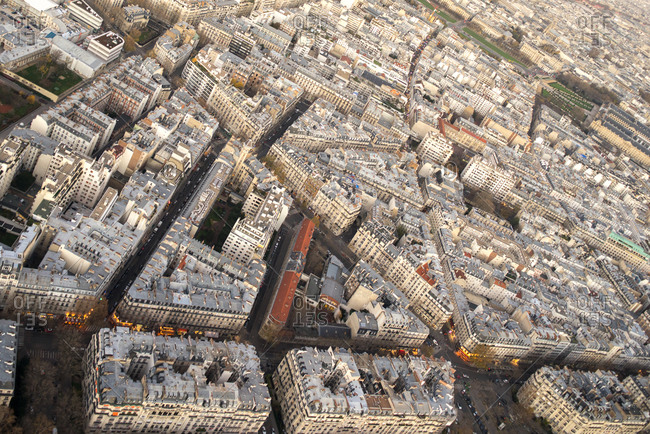 Aerial view of the streets of Paris