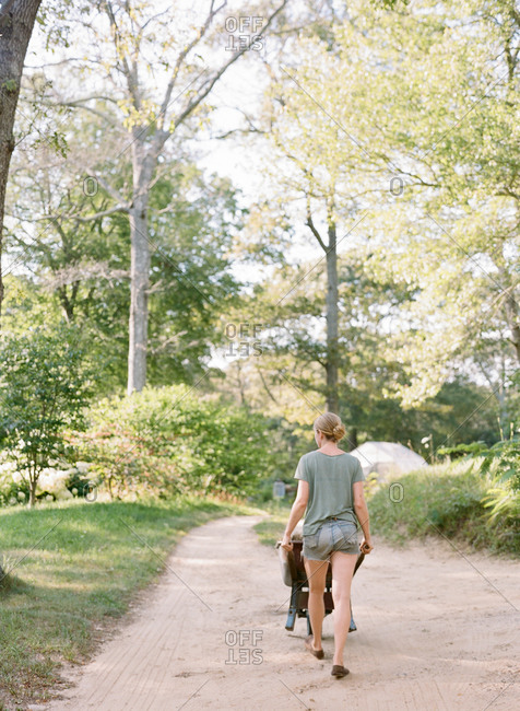 Young female pushing a wheelbarrow along path with tall trees