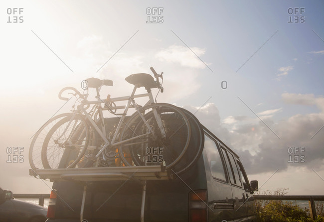 Bicycles on bike rack on van