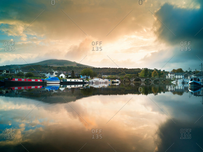 Moored barges at Graiguenamanagh on Barrow Navigation Canal, Ireland