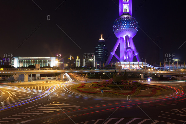Traffic circle with traffic lights in front of Shanghai TV tower, Shanghai, China