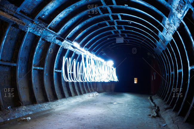 Light trails in industrial tunnel