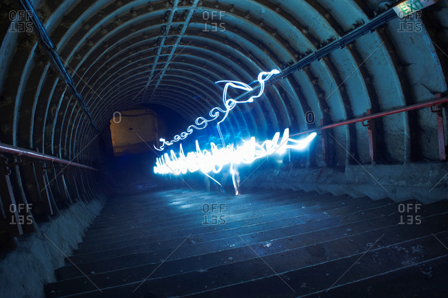 Light trails down a tunnel