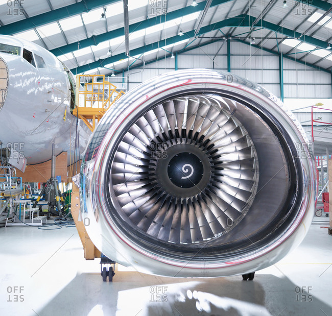 Aircraft engine in aircraft maintenance factory
