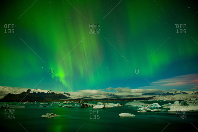 Northern lights (Aurora Borealis) over Jokulsa Loni, Skaftafell, South Iceland