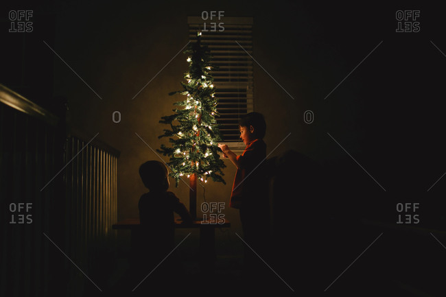 Boys by small Christmas tree