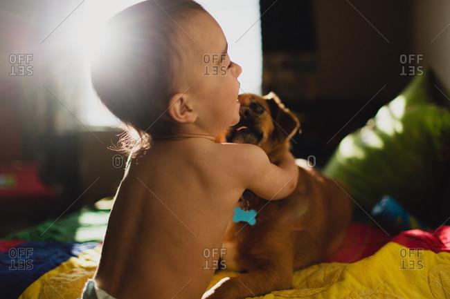 Laughing toddler hugging dog