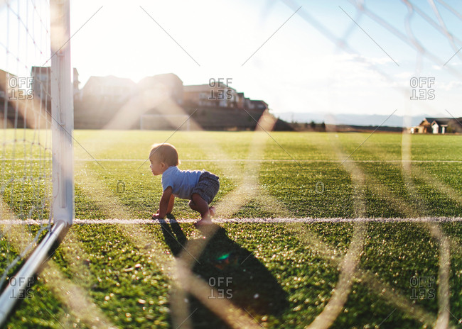 Toddler on a soccer field