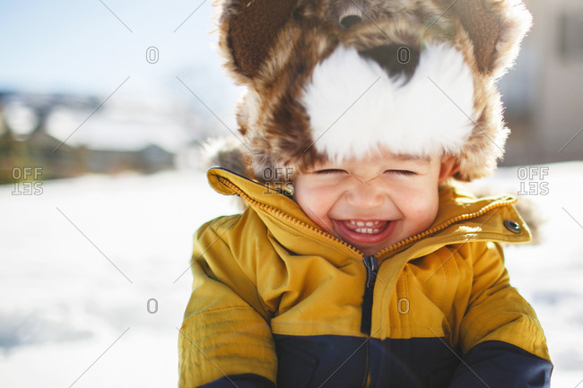 Boy in animal shaped hat