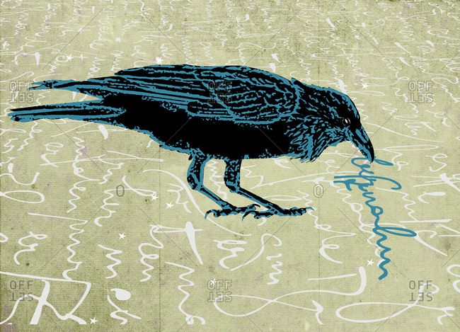 Raven plucking text from a paper