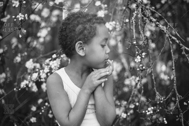 Profile of girl looking at branches of flowers